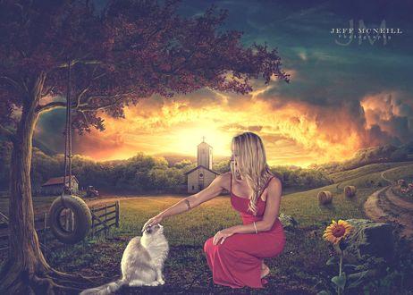 Обои Девушка в красном платье гладит кошку, by Jeff McNeill
