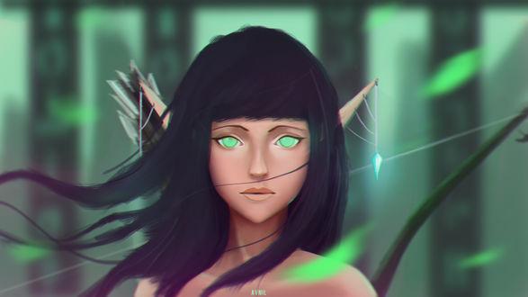 Обои Темноволосая и зеленоглазая девушка-эльфийка на размытом фоне, by Avnil