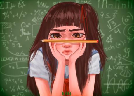 Обои Темноволосая девушка с карандашом на переносице стоит на фоне исписанной доски, by Jooh-fu