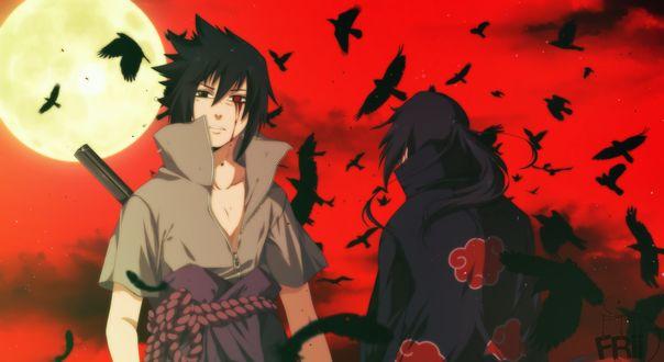 Обои Uchiha Sasuke / Учиха Саске и Uchiha Itachi / Учиха Итачи на фоне кровавого неба из аниме Наруто / Naruto