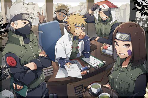 Обои Какаши Хатаке / Kakashi Hatake, Минато Намикадзе / Minato Namikaze, Рин Нохара / Rin Nohara и Учиха Обито / Uchiha Obito в кабинете хокаге из аниме Наруто / Naruto