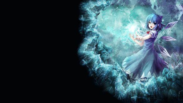 Обои Фея Чирно / Cirno / Чируно / Тируно / Чиллно / Цирно / Сырно из серии игр Проект Восток / Touhou Project колдует ледяное заклятие, автор оригинала Yinzhai