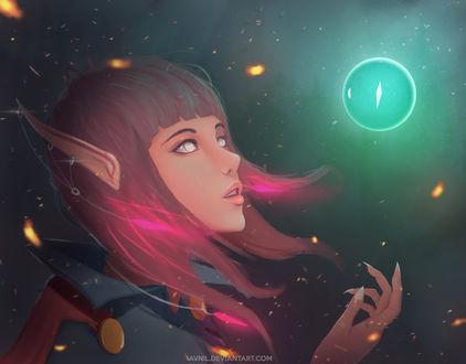 Обои Девушка-эльфийка приподняла голову вверх смотря на светящийся шар, by Avnil