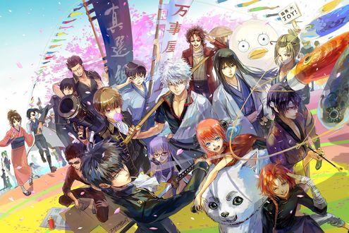 Обои Саката Гинтоки / Sakata Gintoki и другие персонажи из аниме Гинтама / Gintama