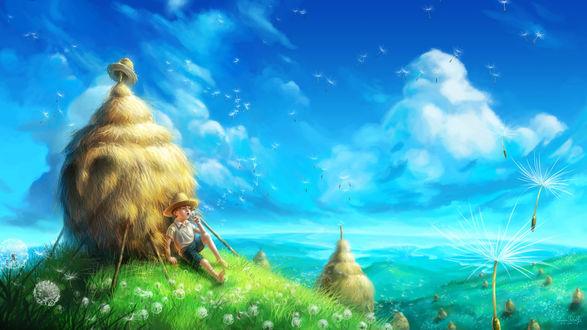 Обои Мальчик в соломенной шляпе сидит в поле пушистых одуванчиков, облокотившись на стог сена