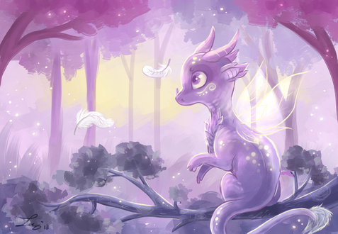 Обои Милый сиреневый дракончик сидит на ветке, by Fayven