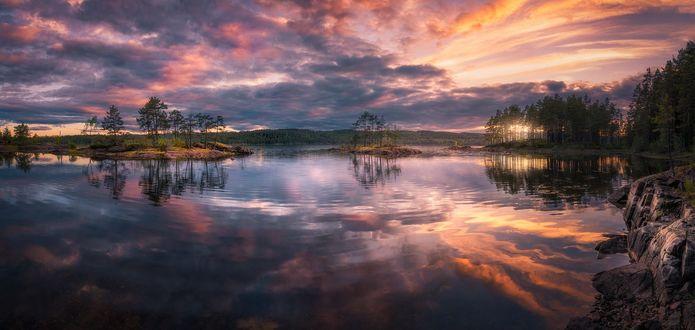 Обои Облачное небо на закате отражается в озере