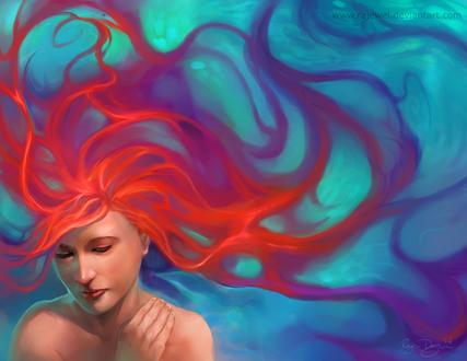 Обои Красноволосая девушка под водой, by rajewel