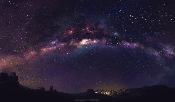 Обои Пара, обнявшись, сидит рядом с мотоциклом на пригорке, любуясь прекрасными видом ночного города вдали, горящего золотыми огнями, под фантастически красивым звездным небом, by AuroraLion