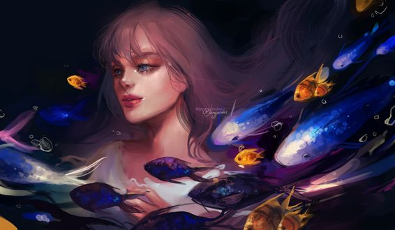 Обои Длинноволосая девушка с голубыми глазами под водой в окружении рыб, by Jyundee