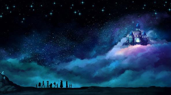 Обои Силуэты персонажей игры Undertale / Подземная сказка, шагающих к замку в облаках, на фоне звездного неба, by AuroraLion