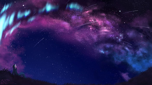Обои Беловолосый парень, сидя на траве, любуется фантастическим звездным небом, by AuroraLion
