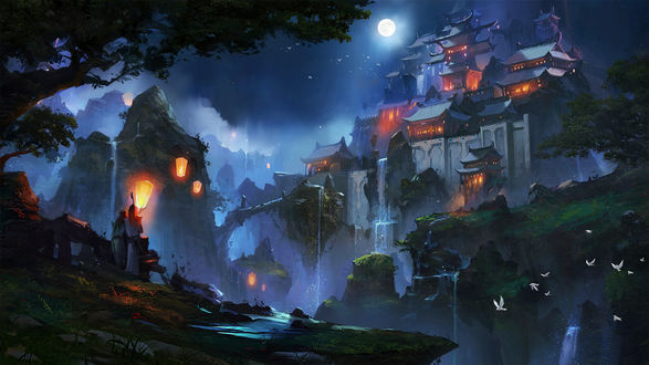 Обои Китайский замок с освещенными окнами на вершине скалы лунной ночью