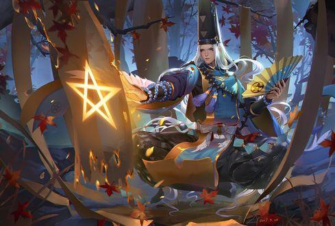 Обои Парень-жрец в японской одежде занимается магией ночью в лесу, Onmyouji