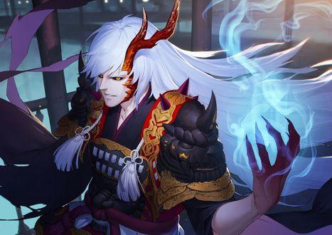 Обои Рогатый парень-демон в японских доспехах использует магию, Onmyouji