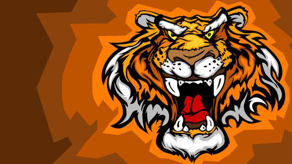 Обои Морда оскалившегося тигра на коричневом фоне