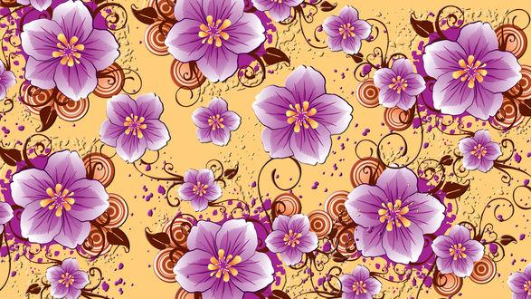 Обои Цветы с коричневыми листьями на желтом фоне