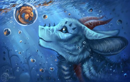 Обои Дракончик под водой смотрит на золотую рыбку в шаре, by FlashW