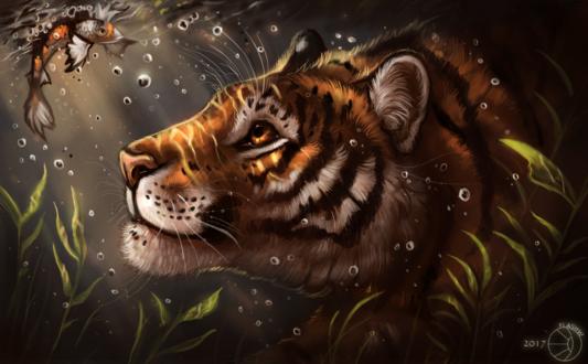 Обои Тигр под водой смотрит на золотую рыбку, by FlashW