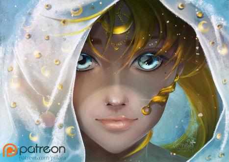 Обои Princess Serenity / Принцесса Серенити / Usagi Tsukino / Усаги Цукино из аниме Сейлор Мун / Sailor Moon, by Pillara