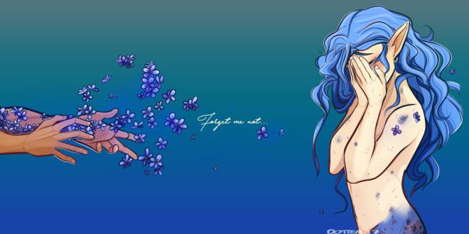 Обои С рук парня слетают цветы перед девушкой-эльфийкой, (Forget Me Not / не забывай меня), by Dottea