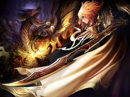 Обои Девушка с мечом сражается с драконом