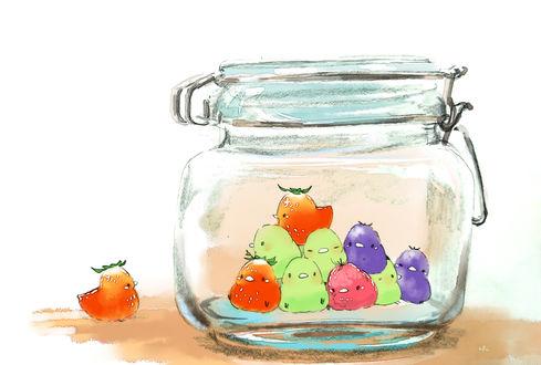 Обои Фруктовые и ягодные птички в стеклянной банке, by チャイ