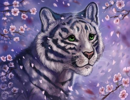 Обои Белый тигр с зелеными глазами на фоне цветущих цветков сакуры, by FlashW