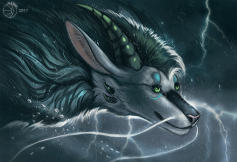 Обои Белый дракон с зеленой гривой, by FlashW