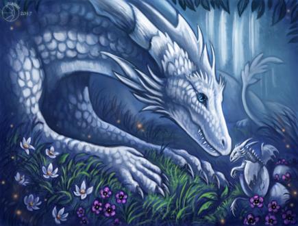 Обои Белая дракониха с вылупившимся дракончиком на фоне природы, by FlashW