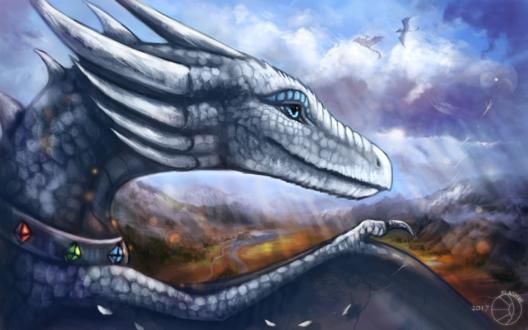 Обои Белый дракон с ошейником с камнями на фоне неба и гор, by FlashW