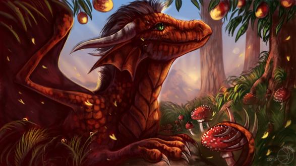 Обои Красный дракон на фоне манго и природы, by FlashW