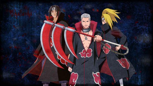 Обои Итачи Учиха / Itachi Uchiha, Дейдара и Хидан из аниме Наруто / Naruto, art by Masashi Kishimoto