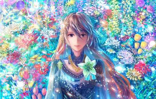 Обои Девушка на фоне цветов, by bounin