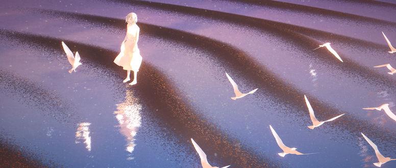 Обои Девушка на морском берегу, автор Omiya Tou