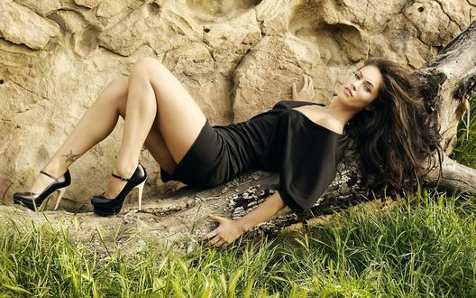 Обои Красивая темноволосая актриса Megan Fox / Меган Фокс лежит на сухом дереве