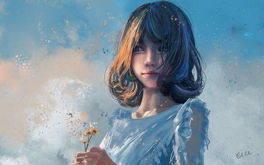 Обои Милая девушка с полевыми цветами в руках стоит на фоне облаков, by Xi Chen Chen