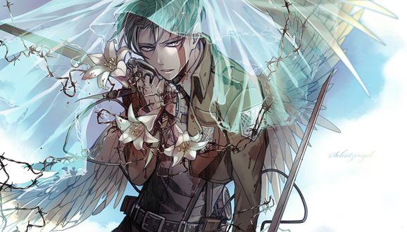 Обои Леви Райвель / Levi Rivaille с крыльями и белыми лилиями из аниме Shingeki no Kyojin / Атака Титанов / Вторжение гигантов