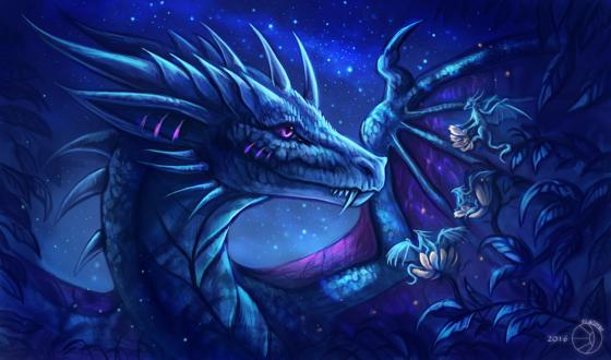 Обои Большой дракон с маленьким дракончиками на фоне ночного неба, by FlashW