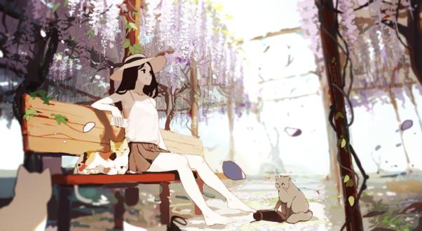 Обои Девушка в шляпке с телефоном в руке сидит на скамейке в окружении кошек и смотрит на падающие лепестки глицинии, by Jayuu