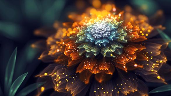 Обои Красивая абстракция в виде цветка на размытом фоне