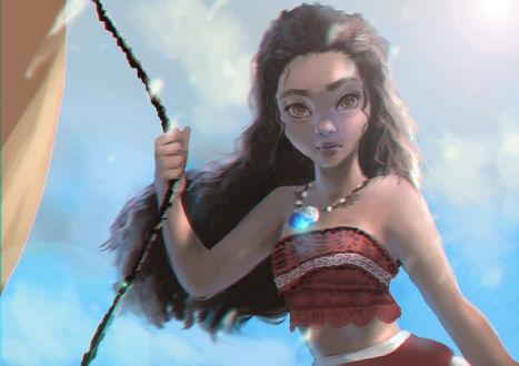 Обои Moana / Моана на фоне неба, мультфильм Moana / Моана