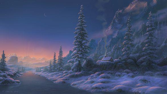 Обои Домик на пригорке возле заснеженного леса и горы