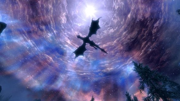 Обои Дракон парит в небе, игра Game Of Thrones / Игра престолов