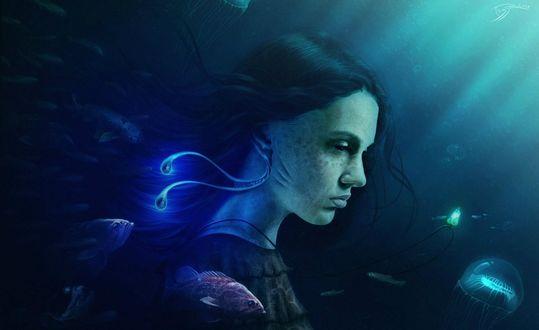 Обои Фэнтези девушка с жабрами под водой с рыбами