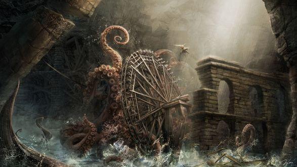 Обои Огромный осьминог Кракен разрушает крепость