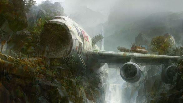 Обои Самолет, потерпевший крушение на скалах у водопада