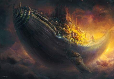 Обои Огромный фантастический кит с городом на спине в небе