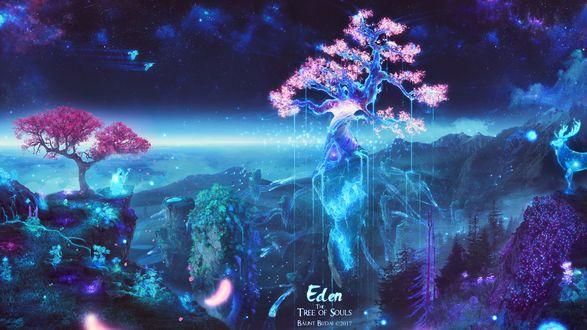 Обои Волшебный мир, где все растения и животные сделаны из света, работа Eden: The Tree of Souls / Eden: Дерево душ, автор Bаlint Budai