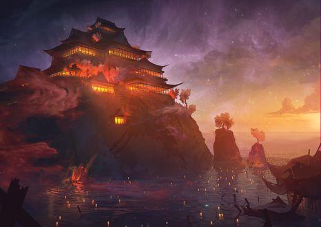 Обои Храм в японском стиле на скале у моря